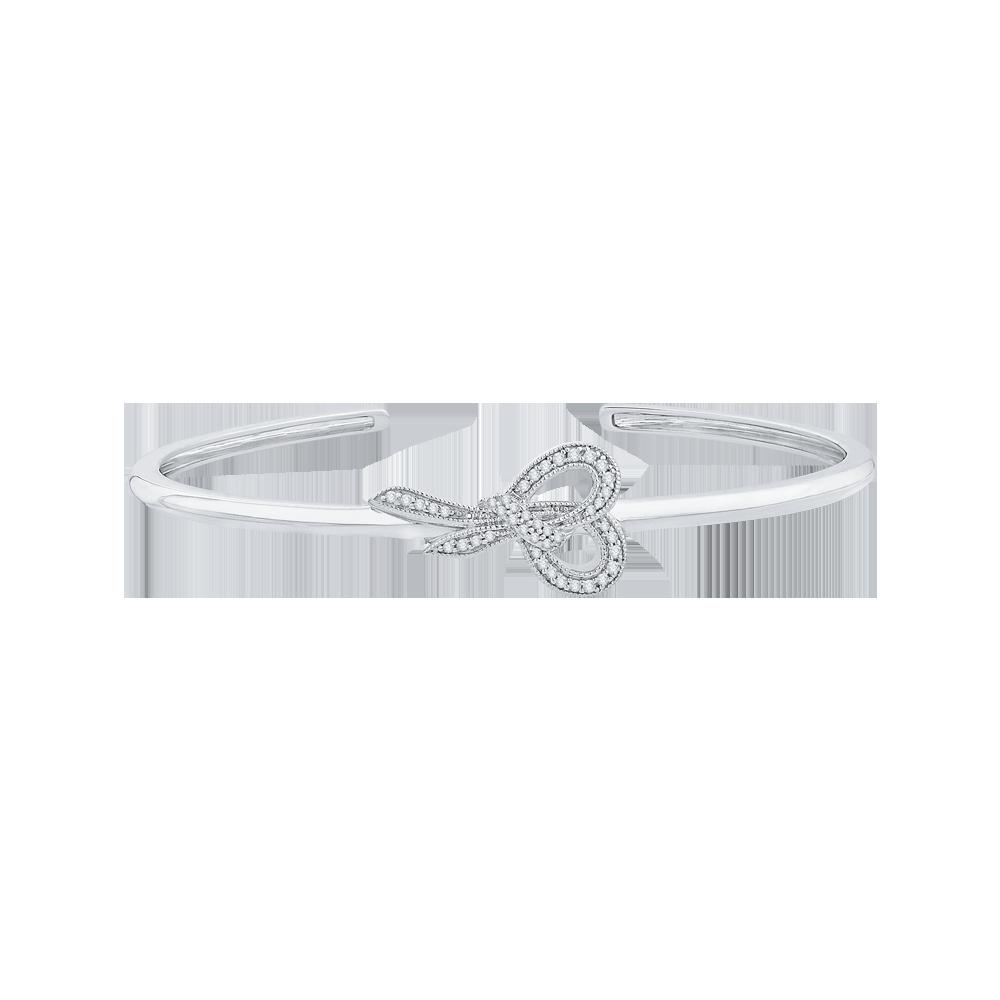 14K White Gold 2/3 ct Diamond Bangle Bracelet