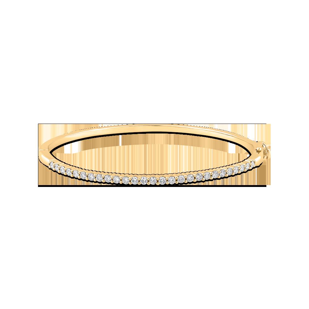 14K Yellow Gold 7/8 ct Diamond Bangle Bracelet