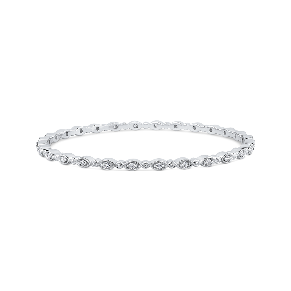 10K White Gold 3/4 ct Round White Diamond Bangle Bracelet