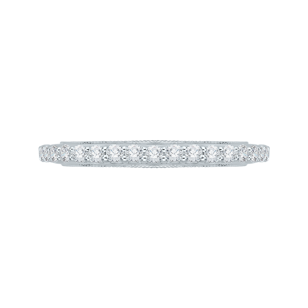 18K White Gold 5/8 Ct Diamond Carizza  Wedding Band