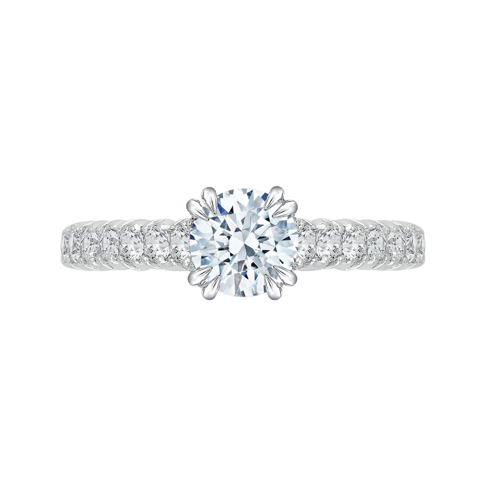 18K White Gold 3/4 Ct Diamond Carizza Semi Mount Engagement Ring to fit Round Center