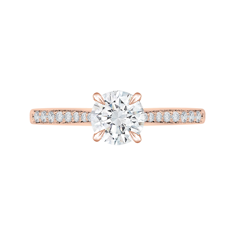 18K Pink Gold Round Cut Diamond Engagement Ring