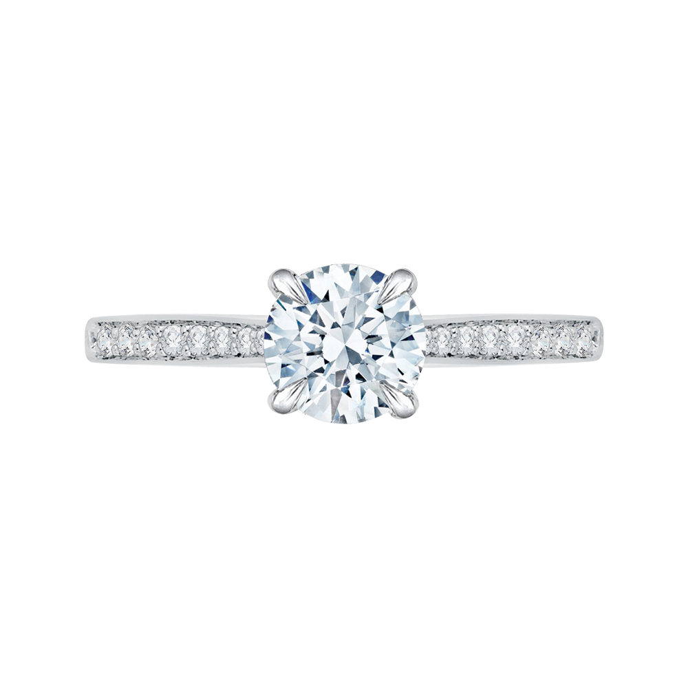 18K White Gold 1/5 Ct Diamond Carizza Semi Mount Engagement Ring to fit Round Center