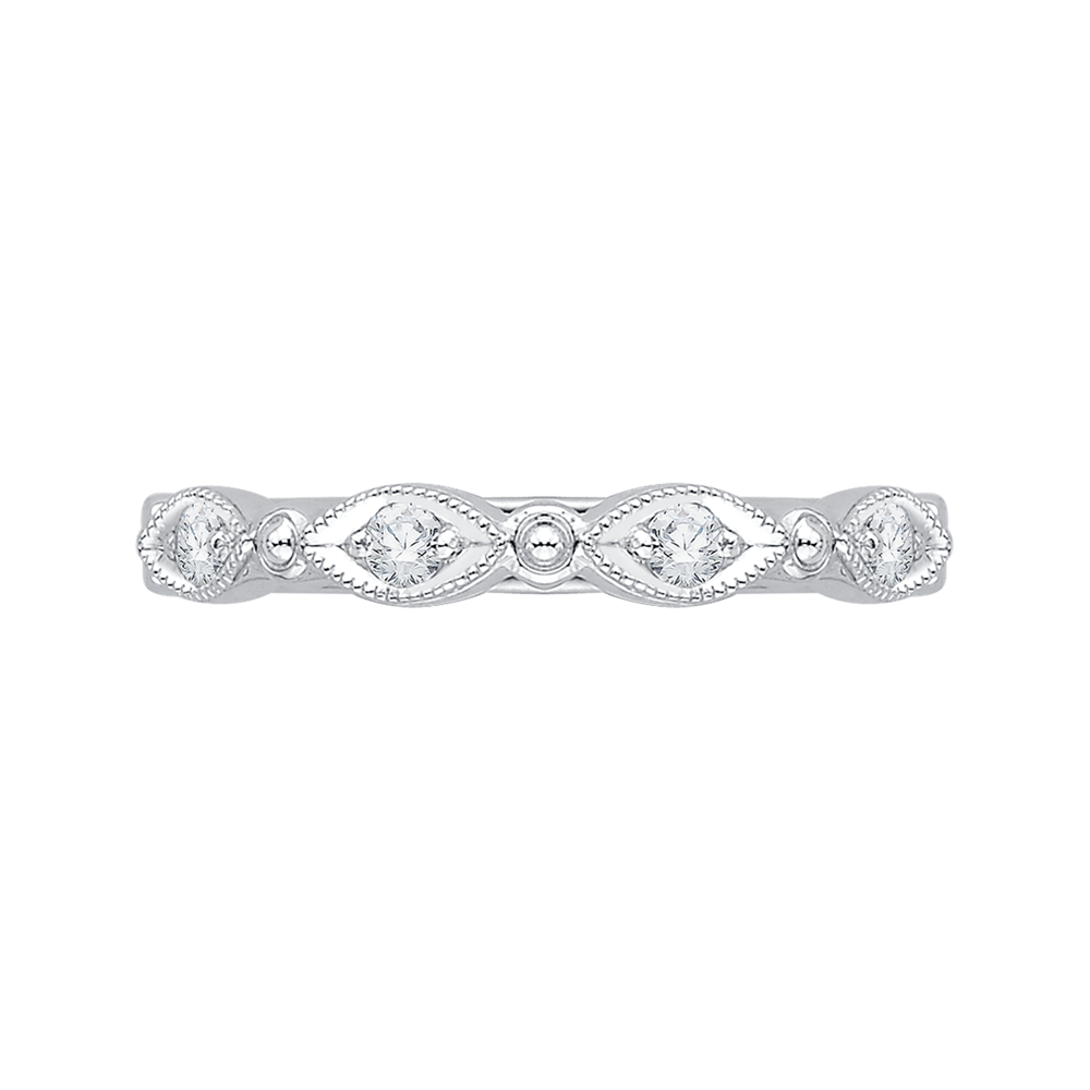 18K White Gold .15 Ct Diamond Carizza  Wedding Band