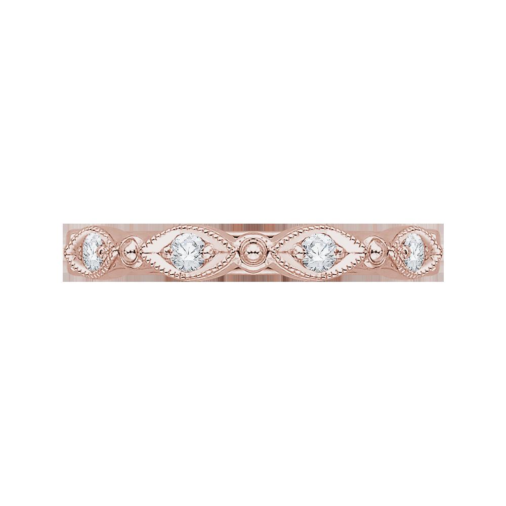 18K Pink Gold 1/5 Ct Diamond Carizza  Wedding Band