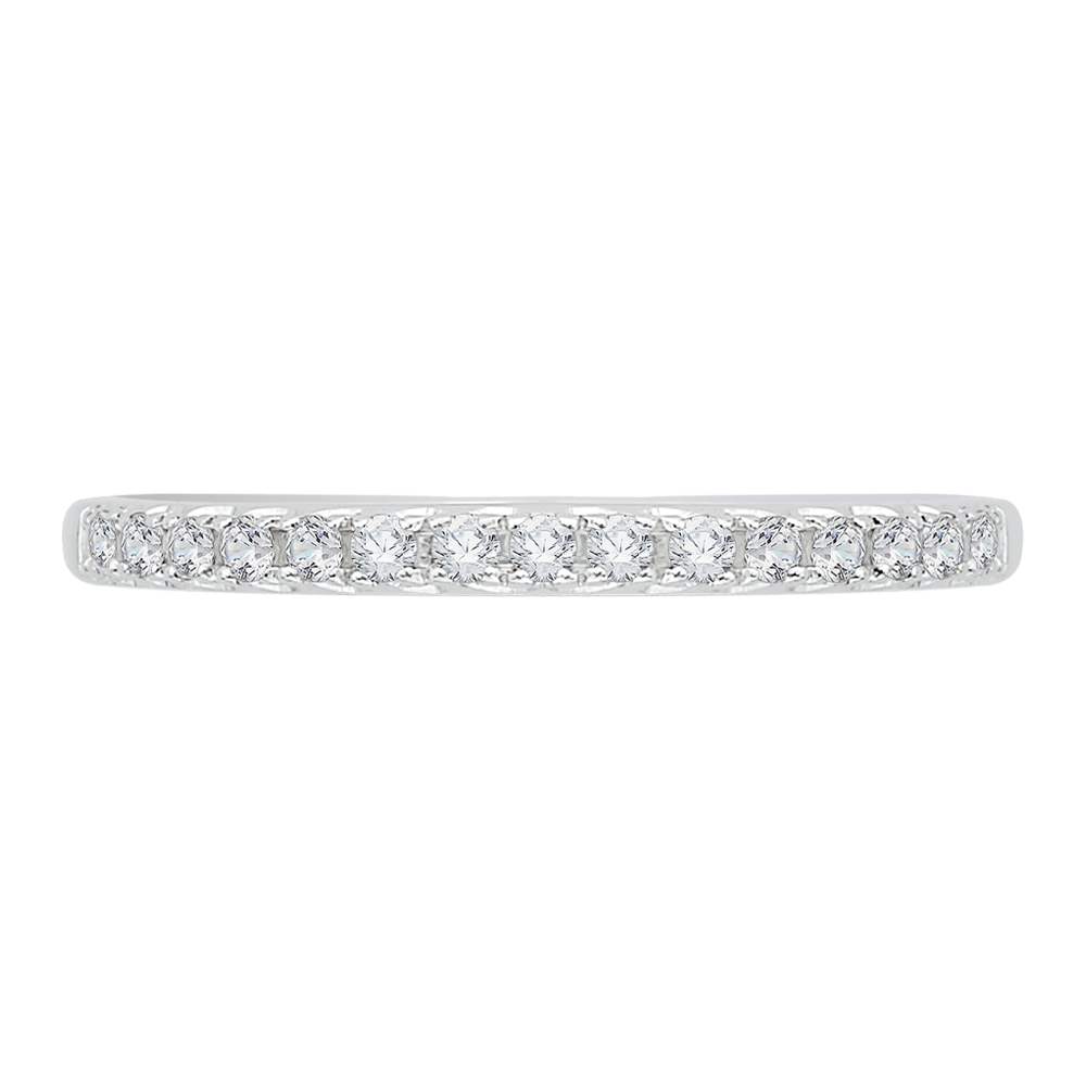 18K White Gold 1/5 Ct Diamond Carizza  Wedding Band