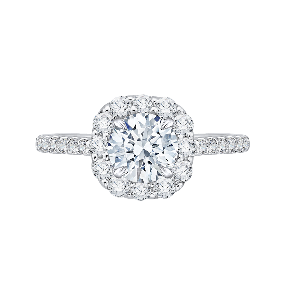 18K White Gold 5/8 Ct Diamond Carizza Semi Mount Engagement Ring fit Round Center