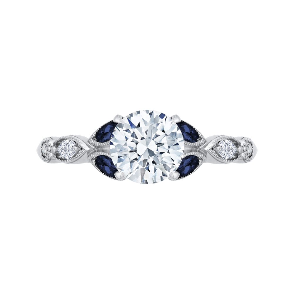 18K White Gold 1/5 Ct Diamond and 1/4 Ct Saphhire Carizza Semi Mount Engagement Ring To Fit Round Center