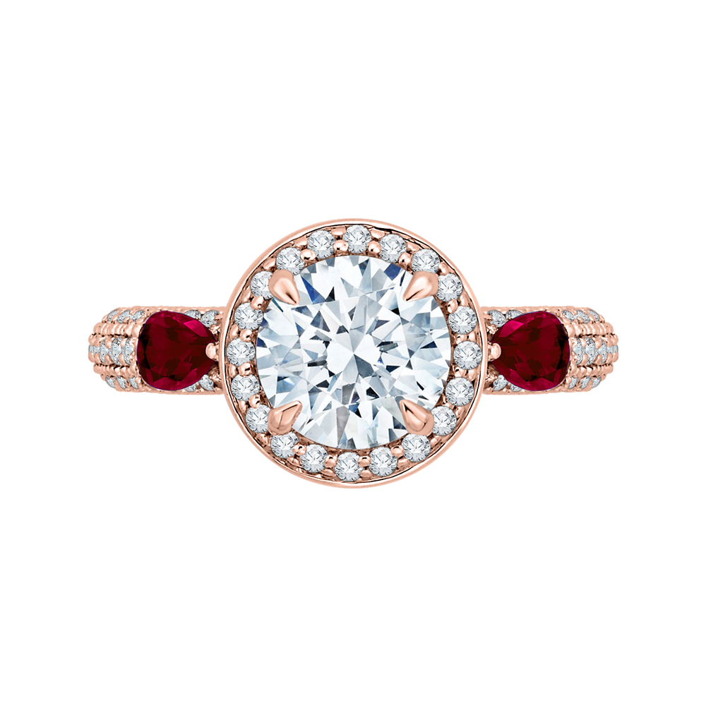 Round Diamond and Ruby Engagement Ring In 18K Rose Gold