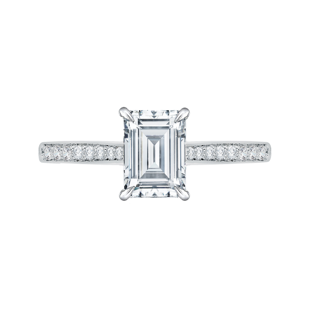Emerald Cut Diamond Solitaire with Accents Engagement Ring In 18K White Gold