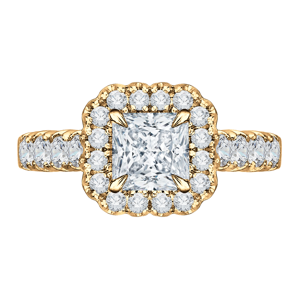 CARIZZA CAP0037E-37. Halo. 14K Yellow Gold Princess Diamond Halo Engagement  Ring ... 00357c1840a6