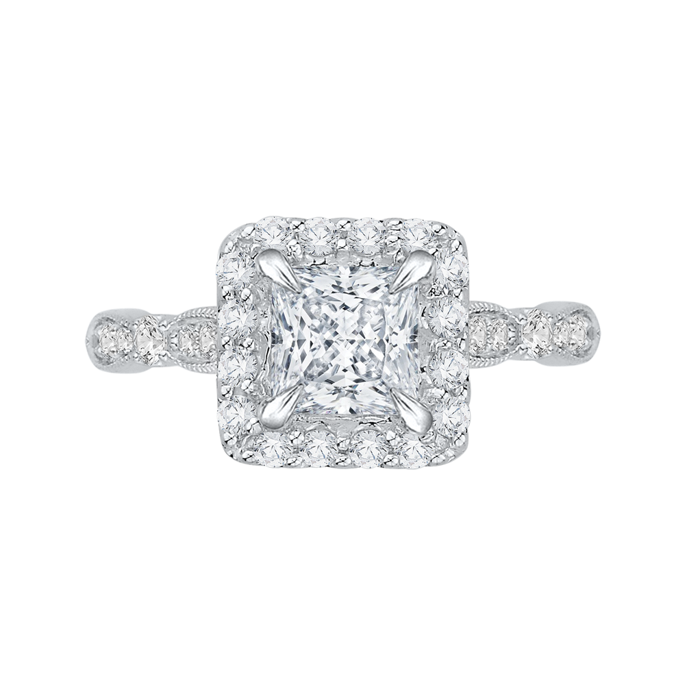 18K White Gold 3/8 Ct Diamond Carizza Semi Mount Engagement Ring to fit Princess Center