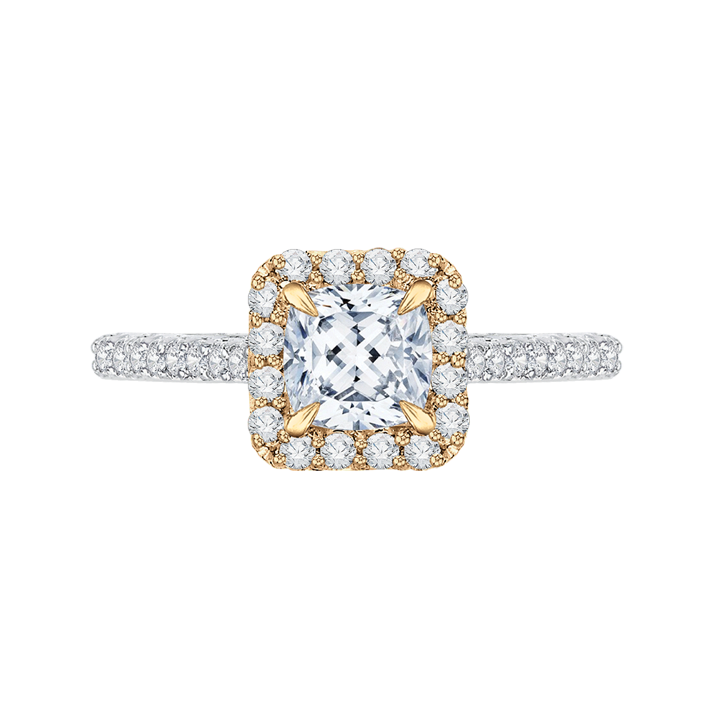 18K Two-Tone Gold 2/3 Ct Diamond Carizza Semi Mount Engagement Ring to fit Cushion Center