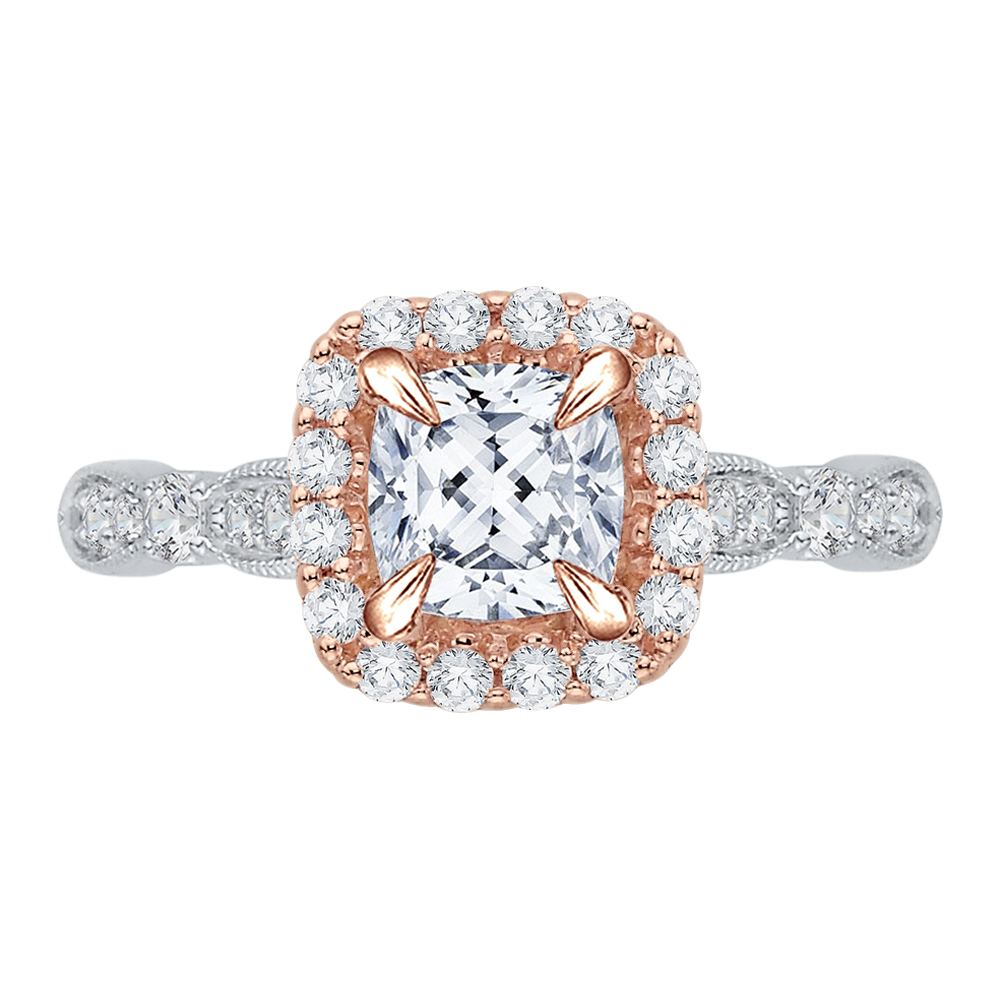 18K Two-Tone Gold 3/8 Ct Diamond Carizza Semi Mount Engagement Ring to fit Cushion Center