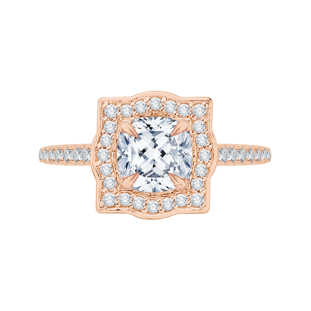 18K Pink Gold 1/4 Ct Diamond Carizza Semi Mount Engagement Ring to fit Cushion Center