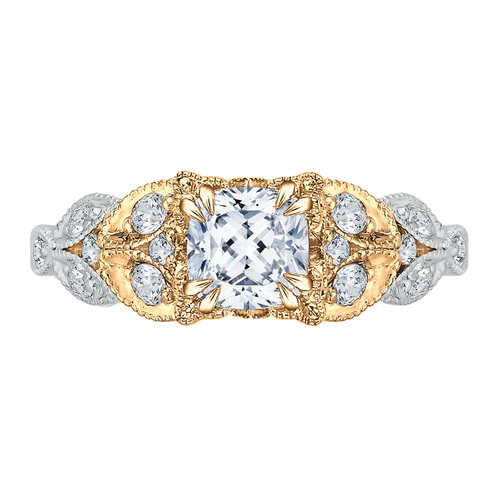 18K Two-Tone Gold Cushion Diamond Floral Engagement Ring