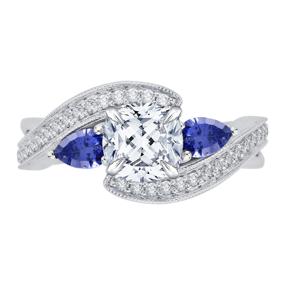 18K White Gold 1/5 Ct Diamond and 1/2 Ct Saphhire Carizza Semi Mount Engagement Ring to fit Cushion Center