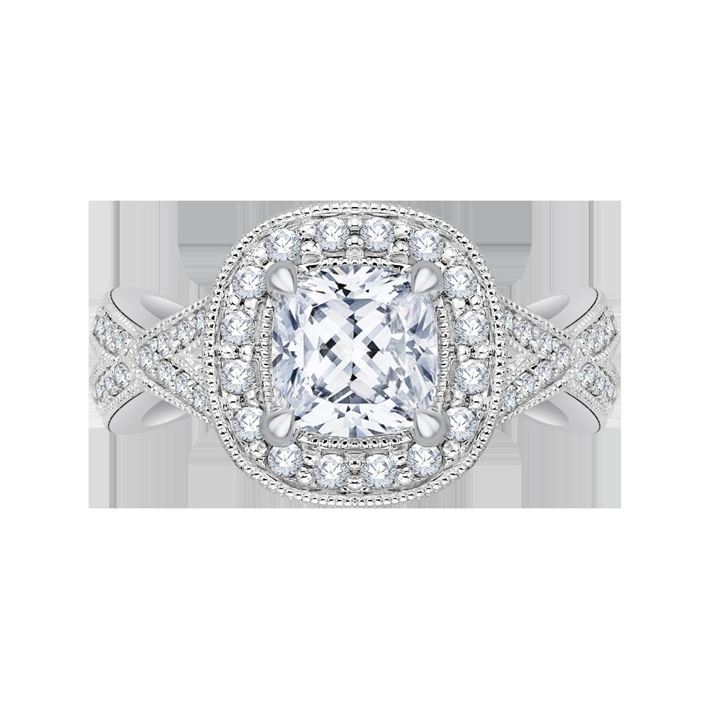14k White Gold Cushion Cut Diamond Halo Engagement Ring With Split Shank Semi Mount