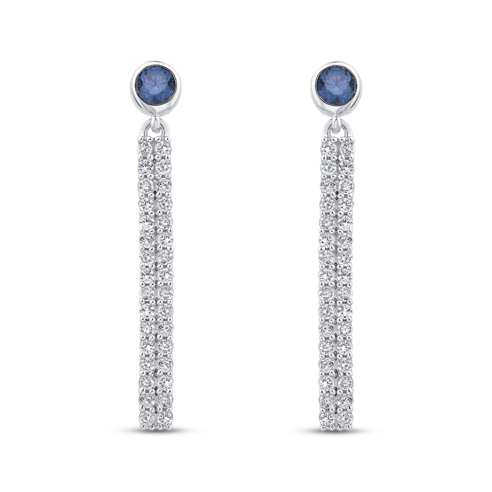 10K White Gold 7/8 ct Blue & White Diamond Fashion Earrings