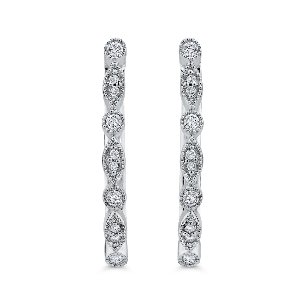 10K White Gold 1/5 ct White Diamond Fashion Hoop Earrings
