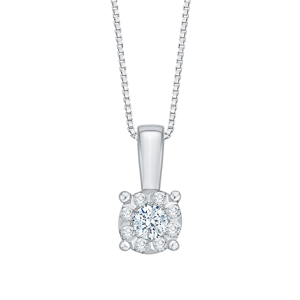 14K White Gold .11 Ct Diamond Lecirque Fashion Pendant