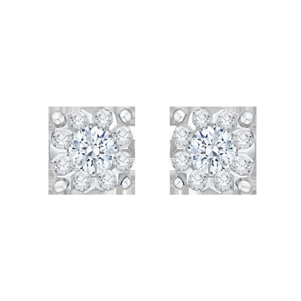14K White Gold 1/3 Ct Diamond Lecirque Studs Earrings