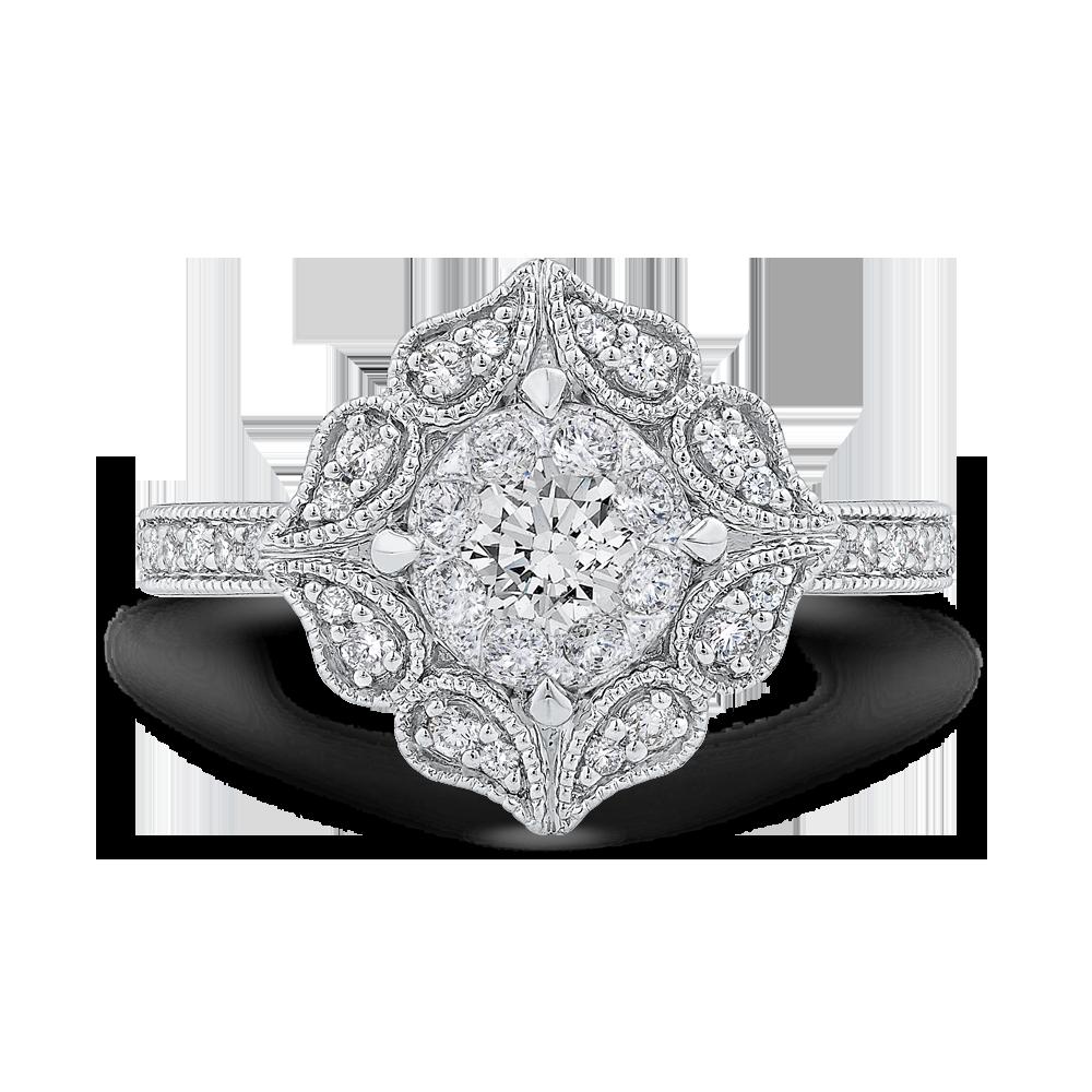 Luminous Lur008142wp100 14k White Gold Round Cut Diamond Flower Shape Engagement Ring: Diamond Flower Wedding Rings At Reisefeber.org