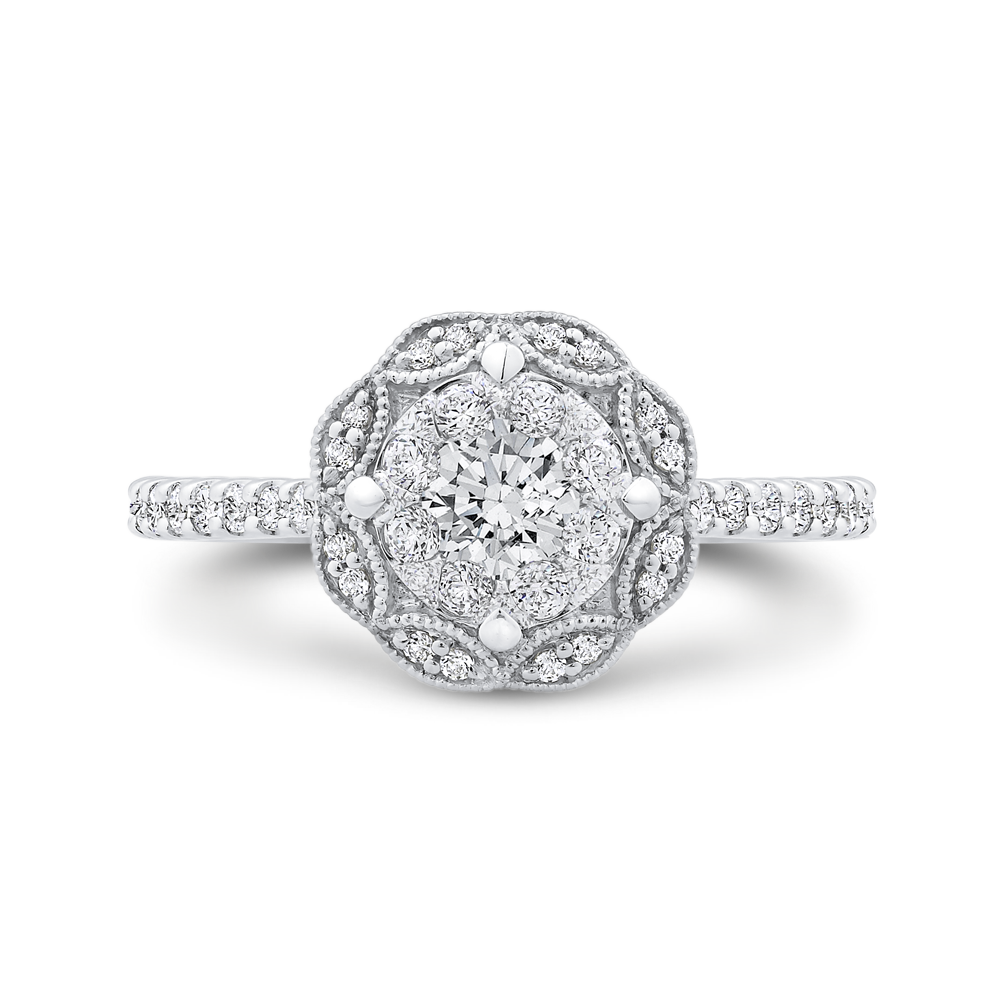 Round Cut Diamond Flower Engagement Ring In 14k White Gold Shah Luxury