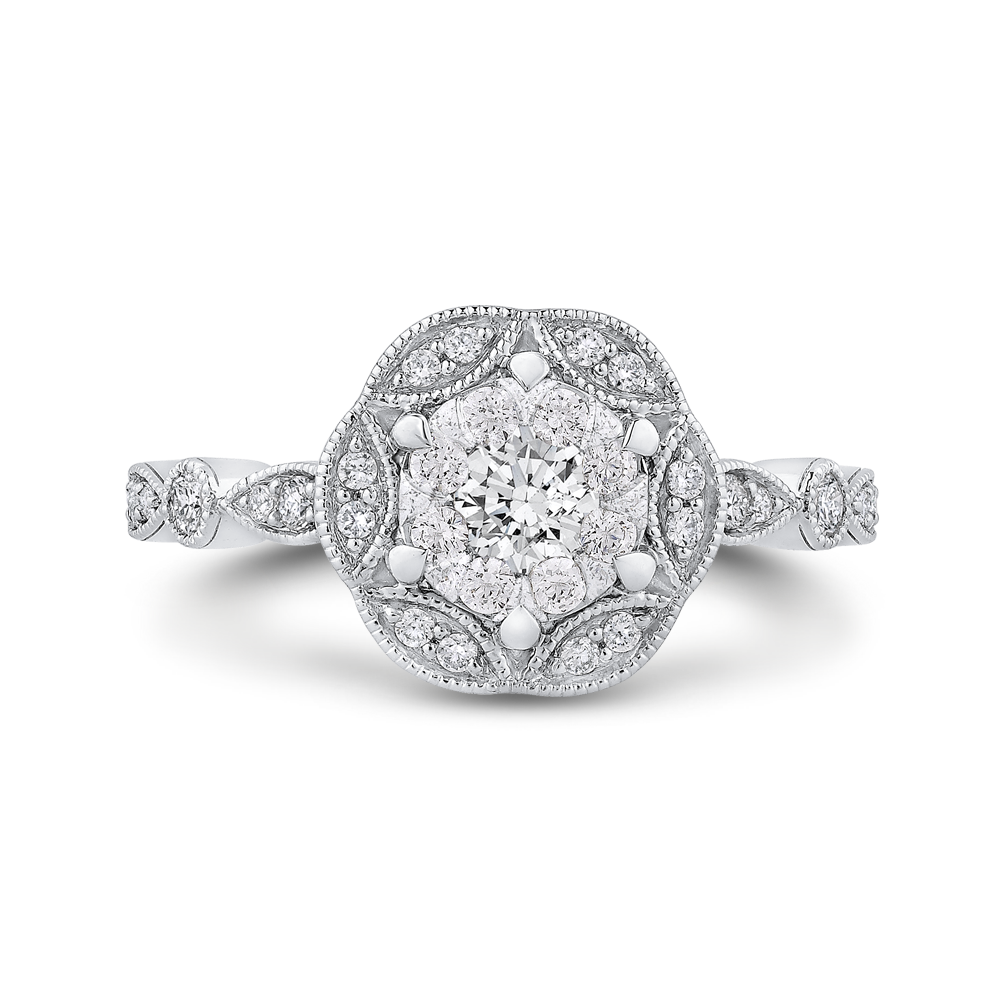 14k White Gold Round Diamond Flower Engagement Ring Shah Luxury