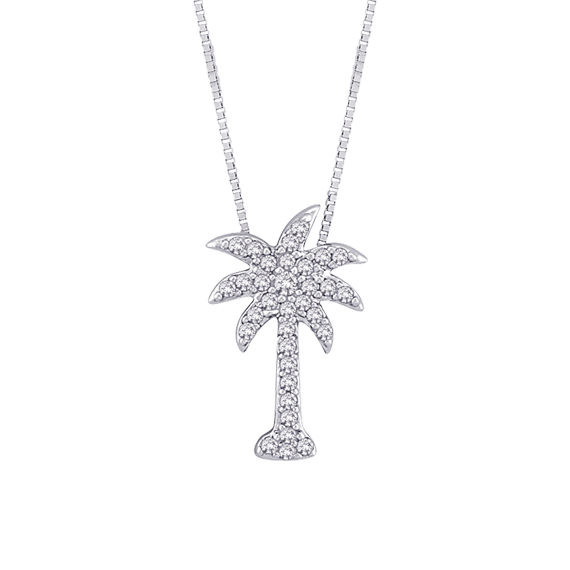Diamond palm tree pendant with chain in 10k white gold 015 cttw p4281pt w mozeypictures Gallery