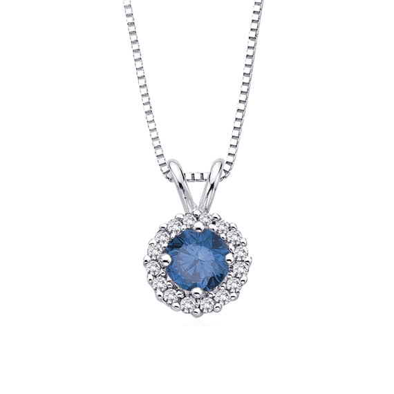 pendant p ct v enhanced solitaire in white set bezel diamond blue gold