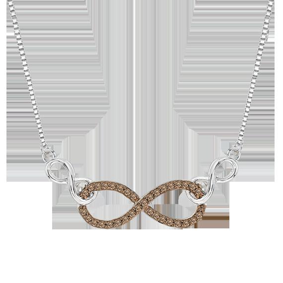 10K White Gold 0.13 ct Brown Diamond Fashion Pendant with Chain