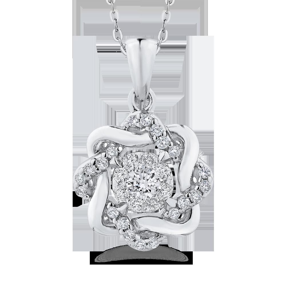 10K White Gold 1/4 Ct Diamond Fashion Pendant with Chain