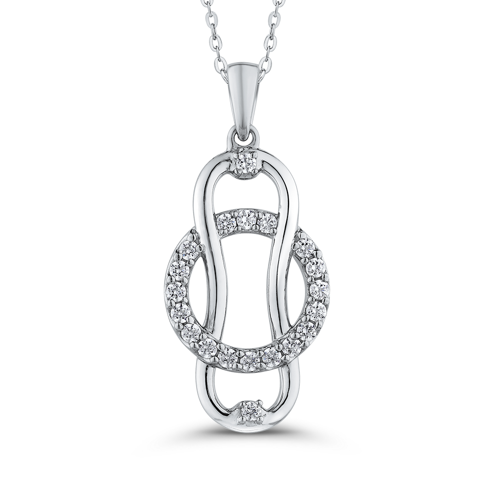 10K White Gold Diamond Linked for Life™ Fashion Pendant with Chain