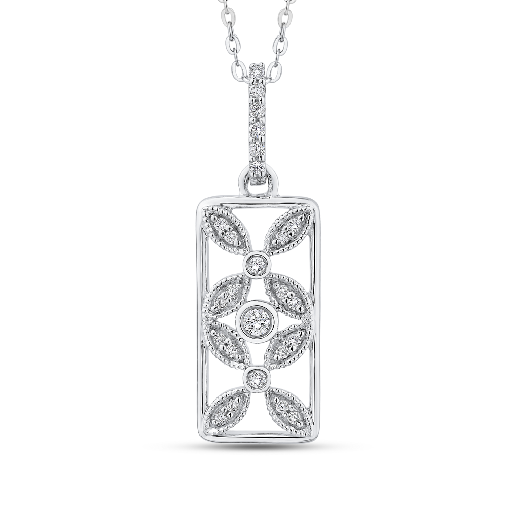 10K White Gold 1/5 ct Diamond Flower Design Fashion Pendant with Chain