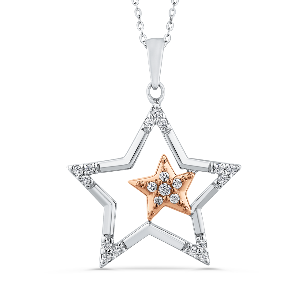 front and avsar pendant diamond star shape real gold