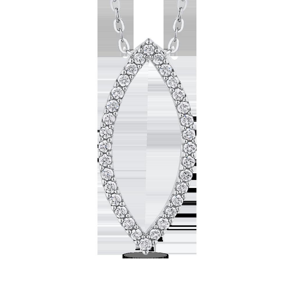 10K White Gold 2/3 ct Round White Diamond Fashion Pendant with Chain