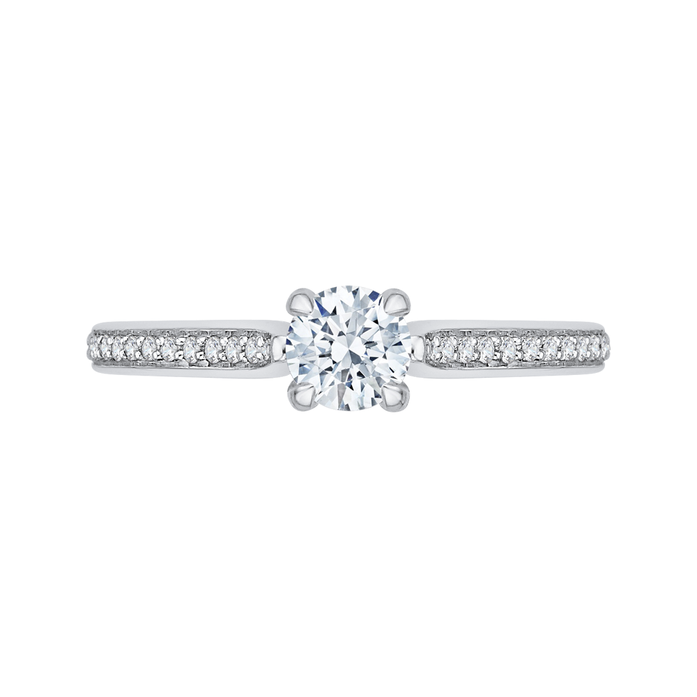 14K White Gold 5/8 ct. Diamond Promezza Engagement Ring with Round Center