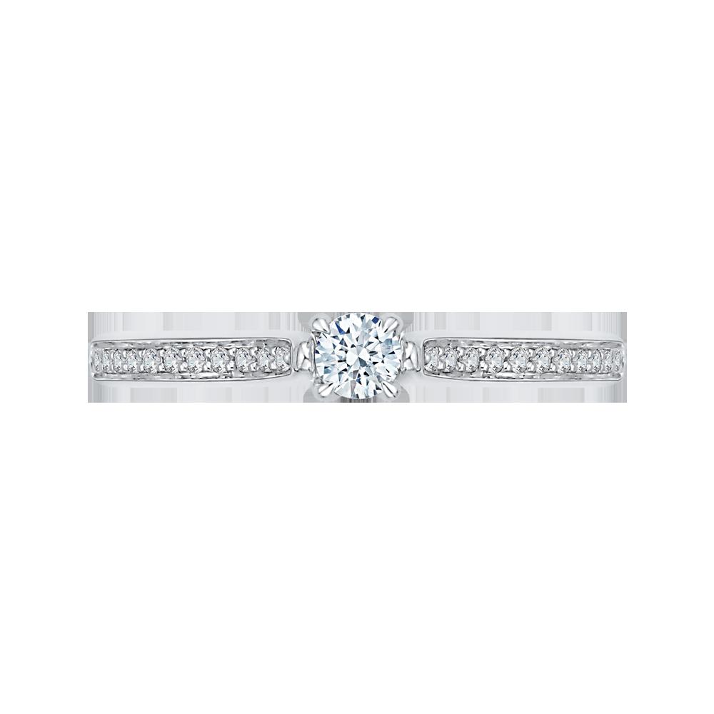 14K White Gold 1/3 ct. Diamond Promezza Engagement Ring with Round Center