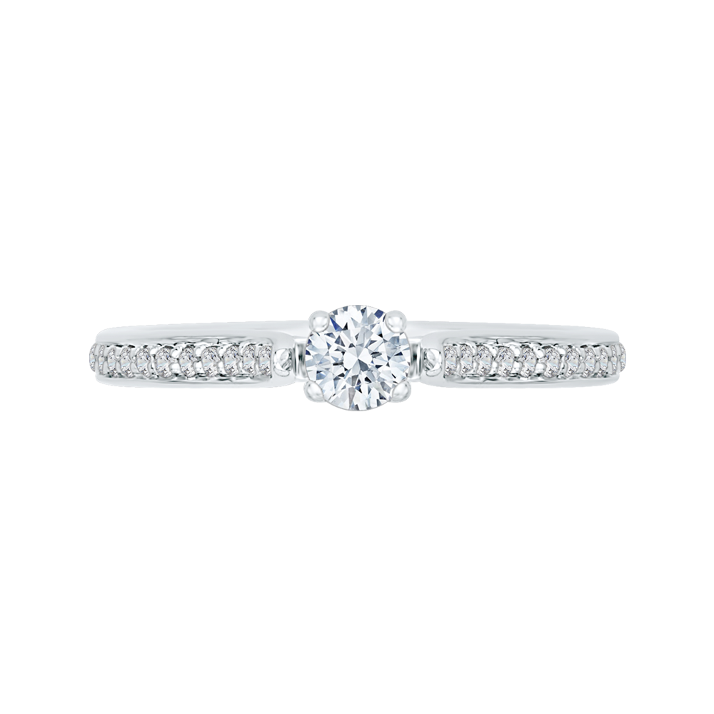 14K White Gold 3/8 ct. Diamond Promezza Engagement Ring with Round Center