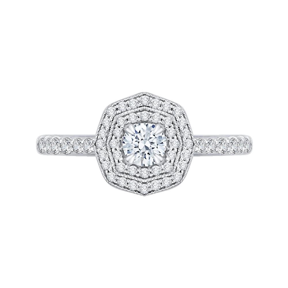 14K White Gold  7/8 Ct. Diamond Promezza Engagement Ring With Round Center