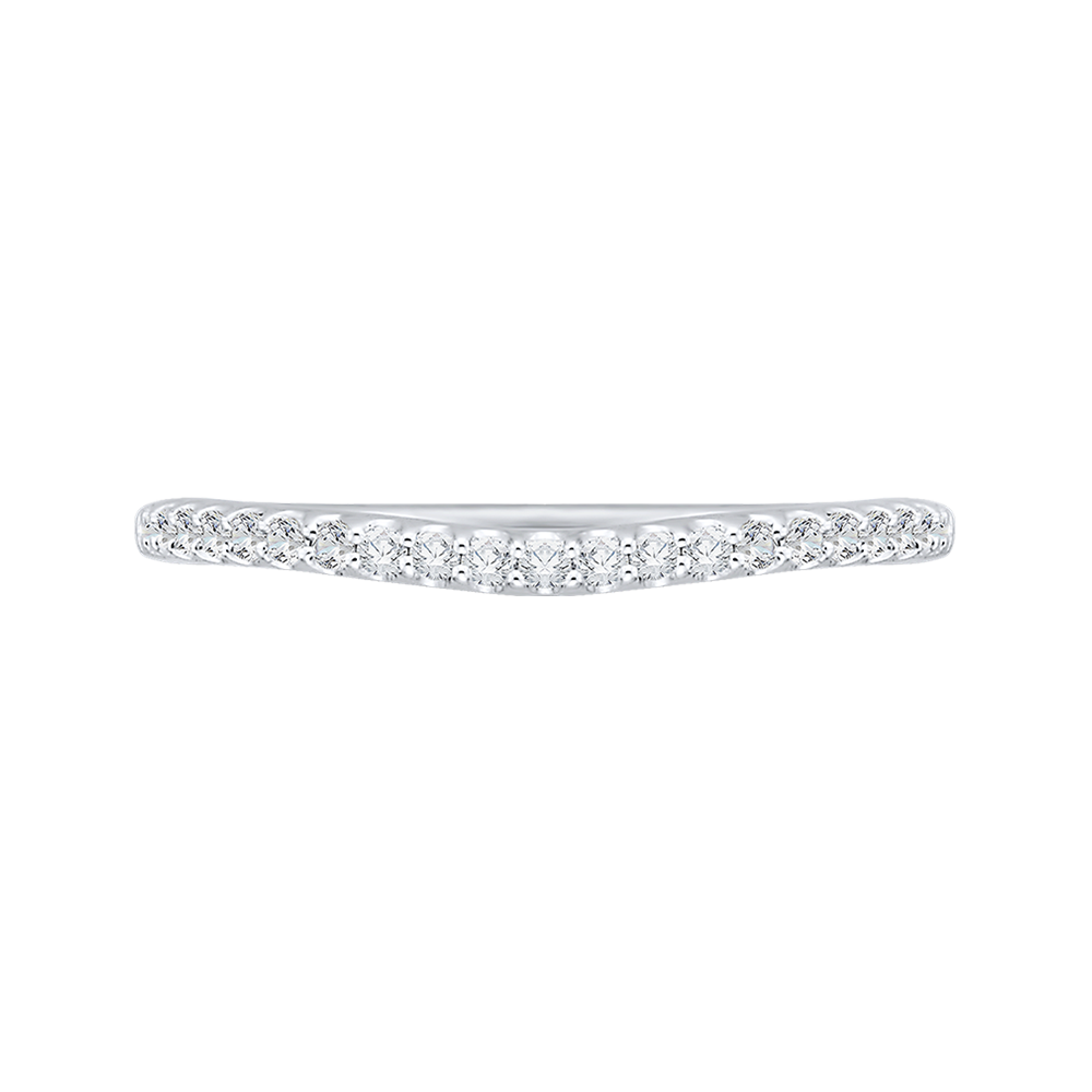 14K White Gold 1/5 Ct.Half Diamond Promezza Wedding Band