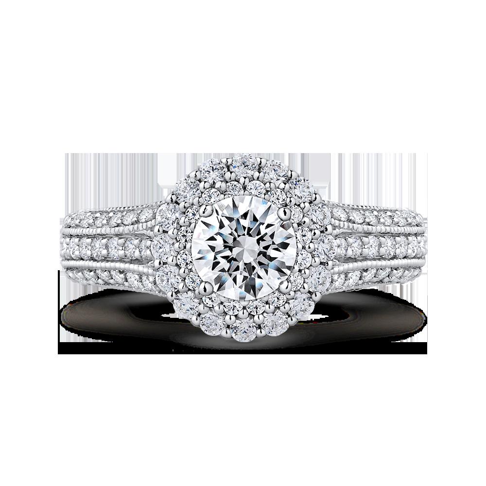 14K White Gold Round Cut Diamond Double Halo Vintage Engagement Ring