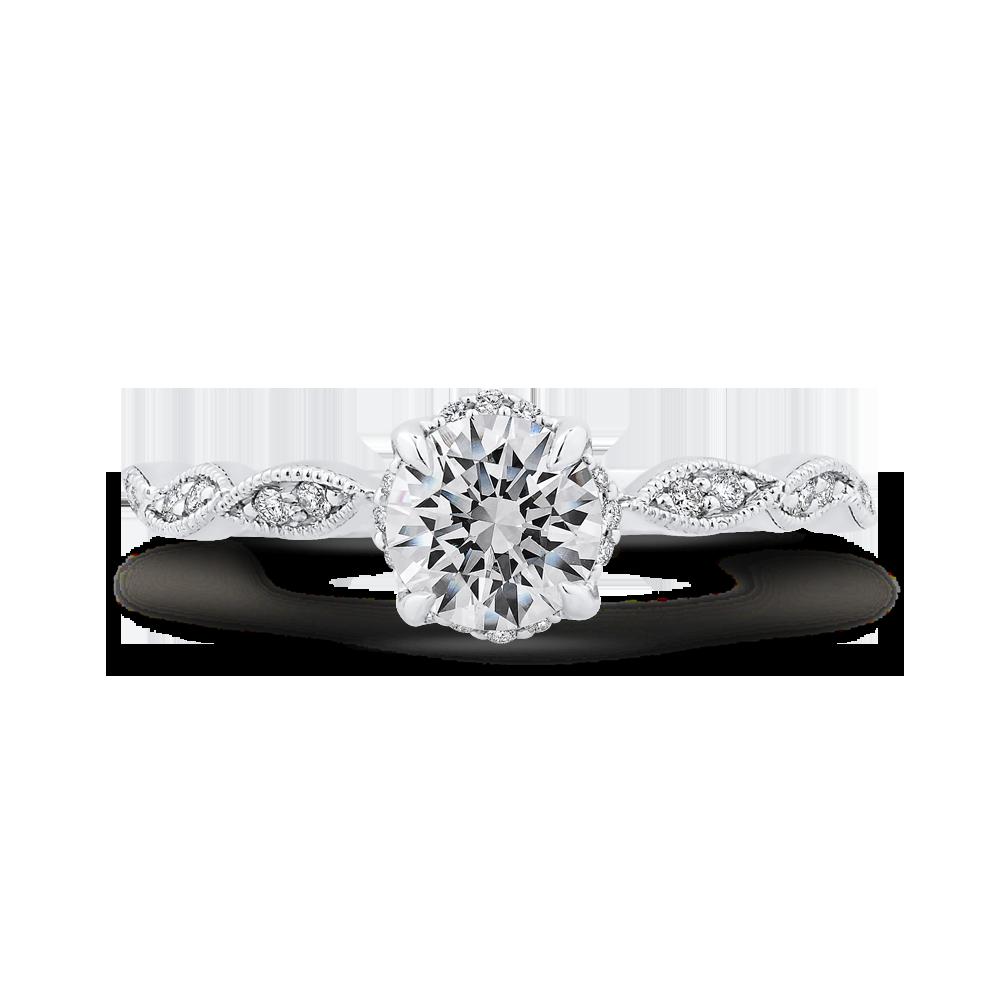 14K White Gold Floral Diamond Engagement Ring