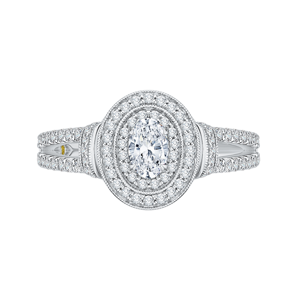 Oval Diamond Double Halo Engagement Ring In 14K White Gold