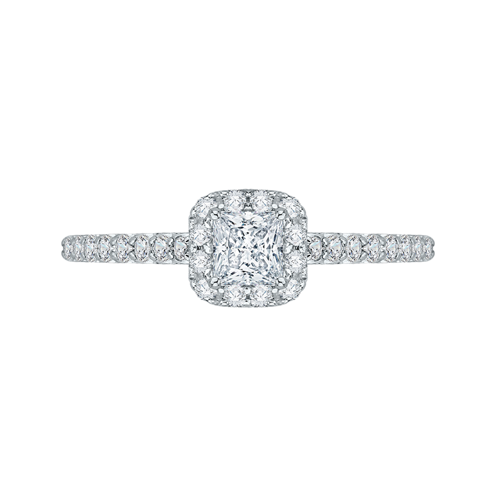 14K White Gold .39 ct. Diamond Promezza Engagement Ring with Princess Center