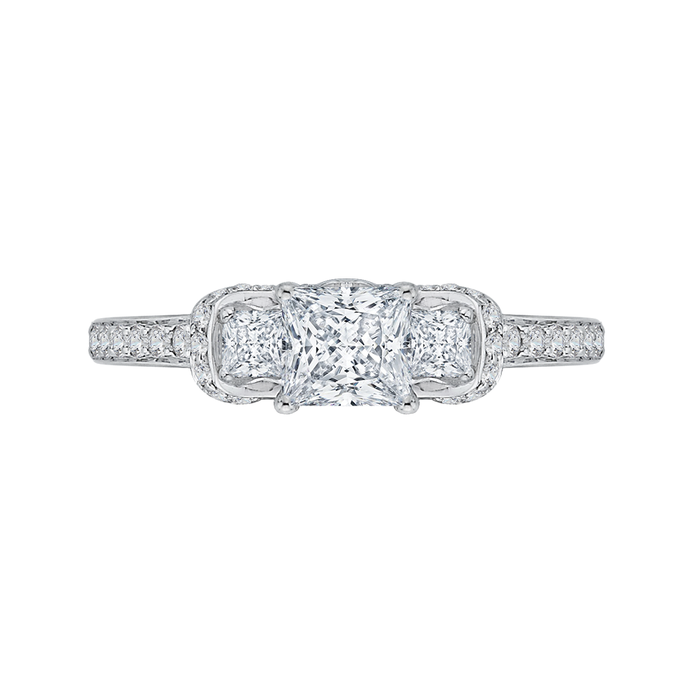 14K White Gold Princess Cut Diamond Three-Stone Engagement Ring