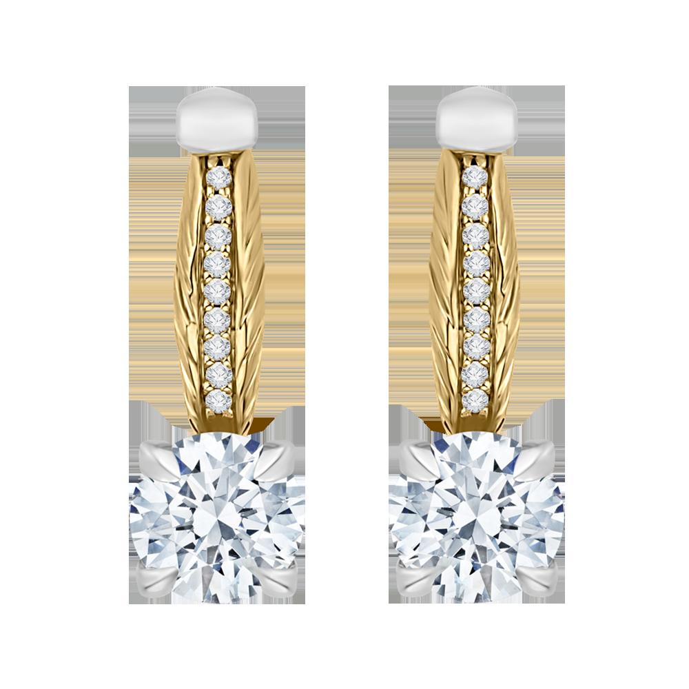 18K Two-Tone Gold 1 1/2 ct Diamond Carizza Boutique Fashion Earring