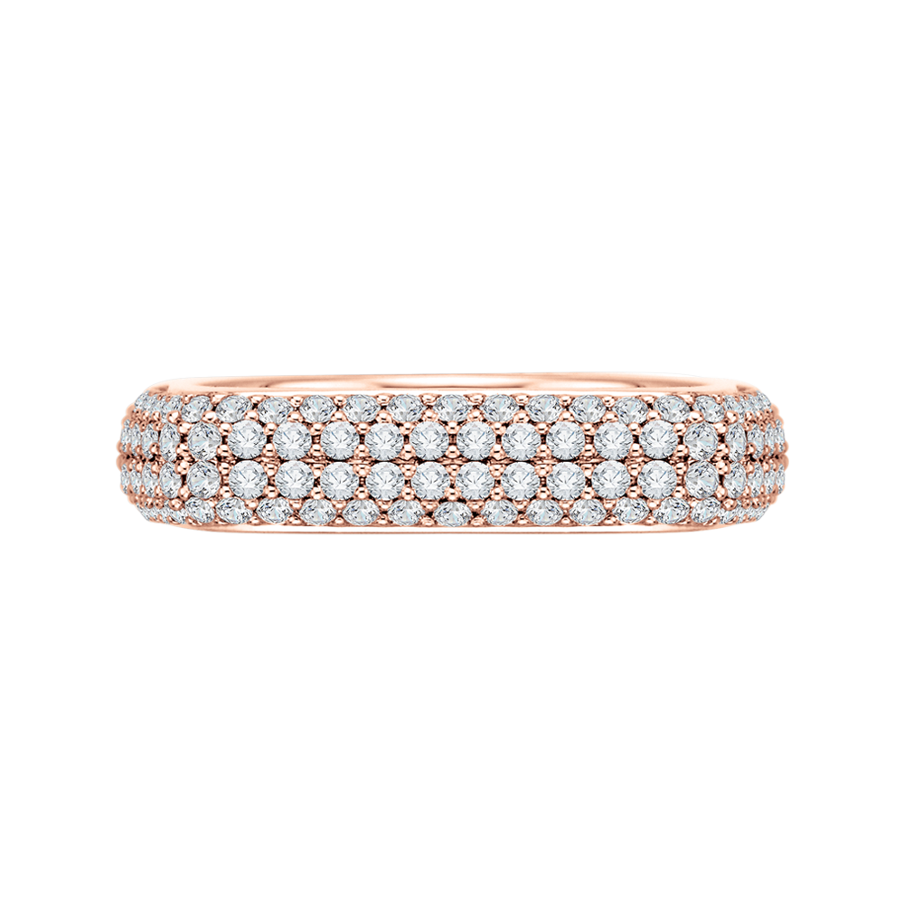18K Pink Gold Round Diamond Fashion Band Ring