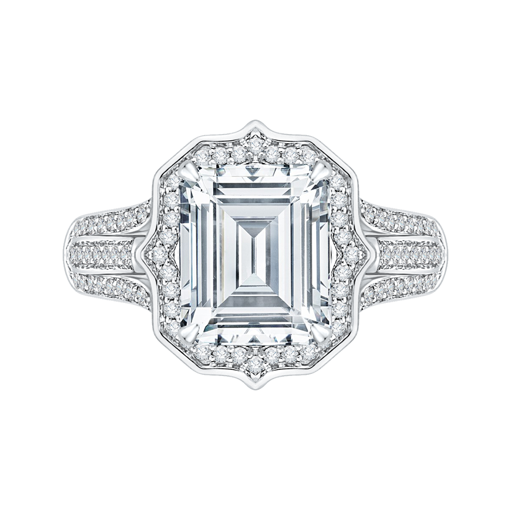 18K White Gold Emerald Cut Diamond Halo Engagement Ring (Semi-Mount)